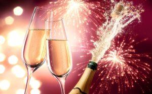 Champagner Splash mit Feuerwerk